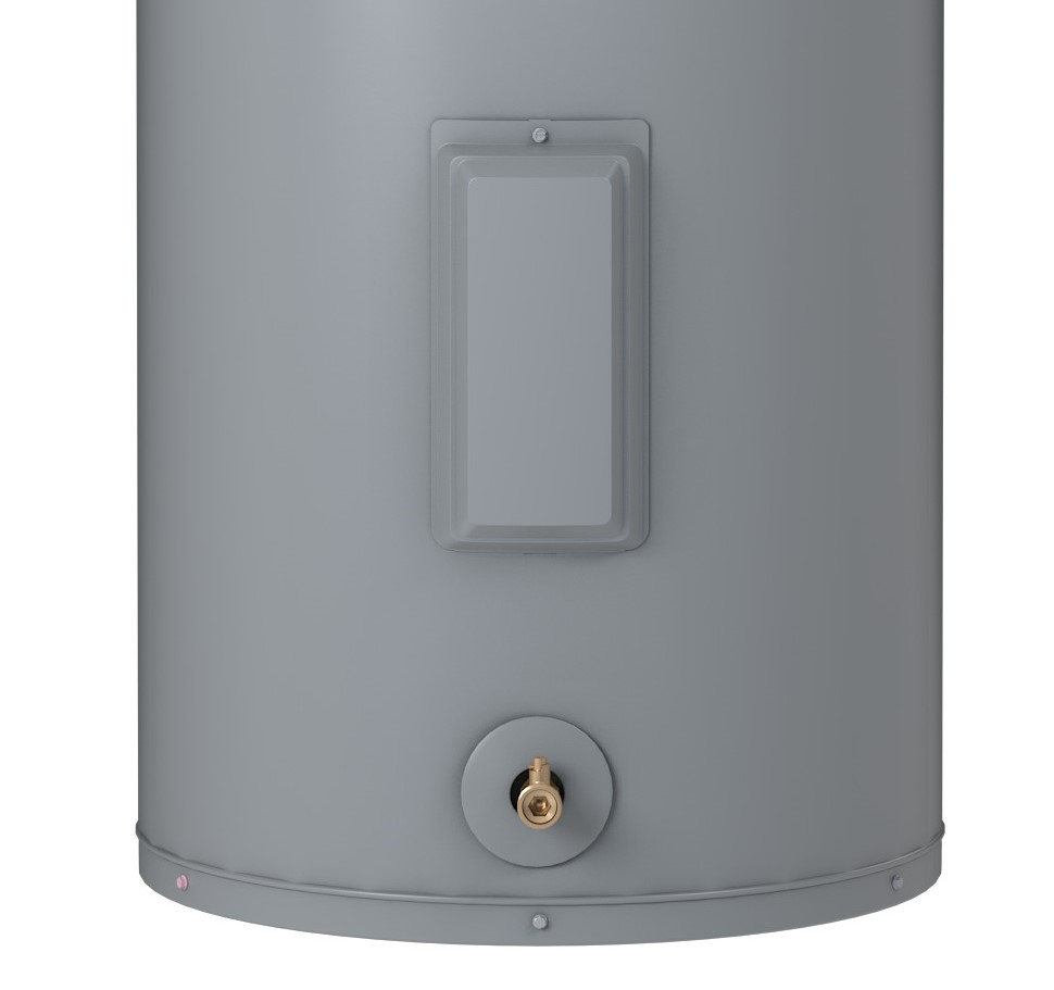 The heating element and thermostat are located behind an access panel