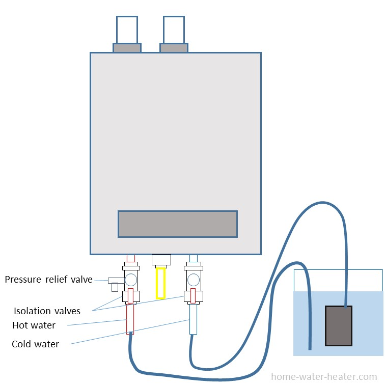 Flushing kit for tankless water heaters